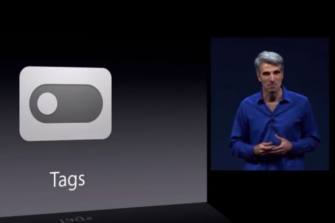 Craig Federighi introducing Tags at the launch of Mac OS X Mavericks