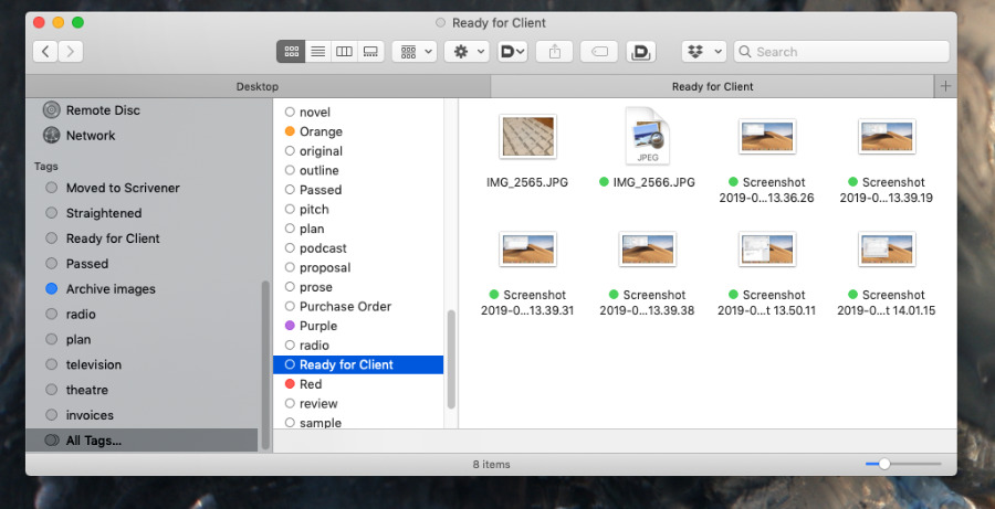 The navigation bar on the left of every Finder window gives you access to some or (right) all of your tags.