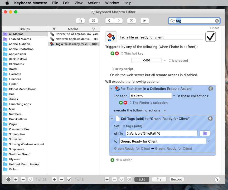 With Keyboard Maestro, you can make tagging one or many files practically instantaneous.