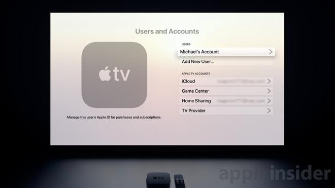 User account settings in tvOS 13