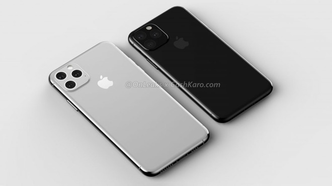An early render of the triple camera setup of the 2019 iPhones, via OnLeaks and CashKaro