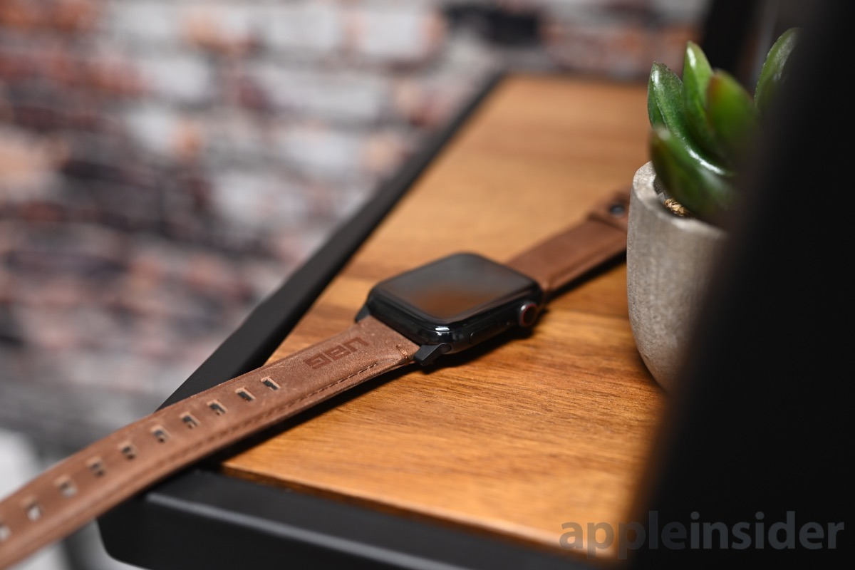 The leather UAG Apple Watch strap