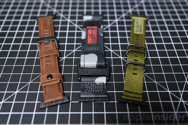 UAG releases a trio of new Apple Watch bands. The Leather (left), Active (middle), and NATO (right)