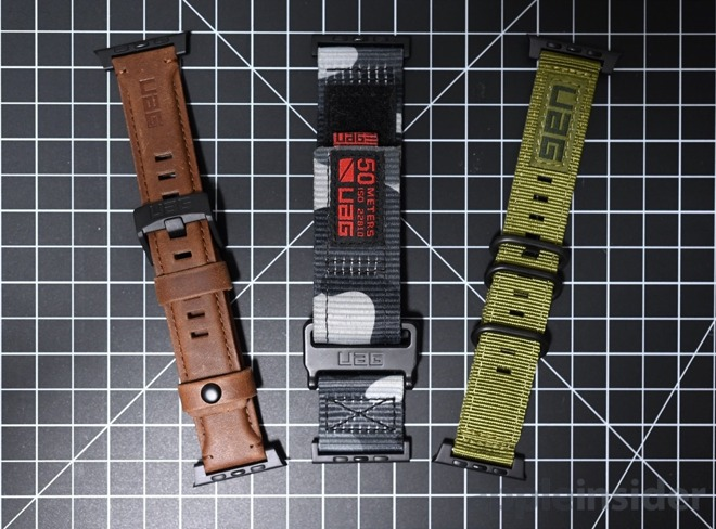 UAG releases a trio of new Apple Watch bands. The Leather (left), Active (middle), and NATO (right).