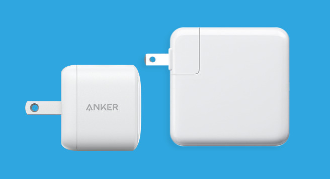 An example of how small a GaN charger could be against some larger traditional chargers. [via Anker]