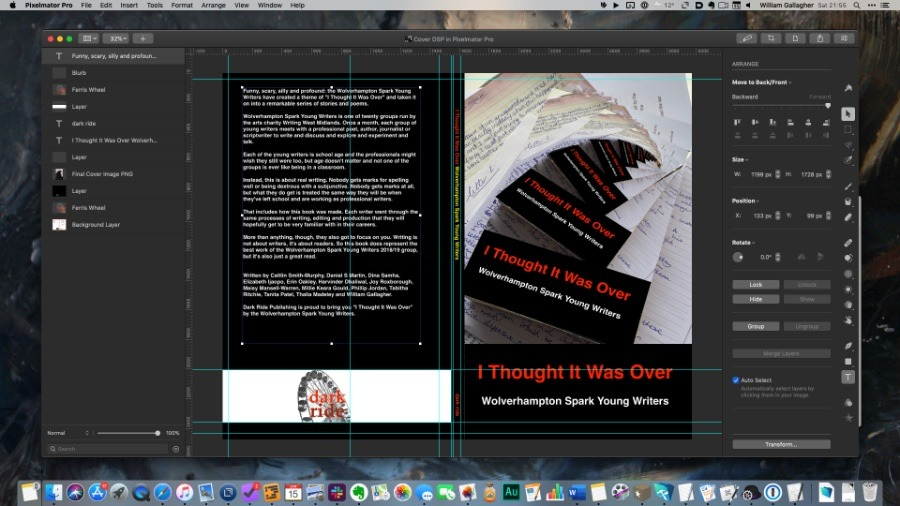Designing the front, back and spine of the book in Pixelmator Pro