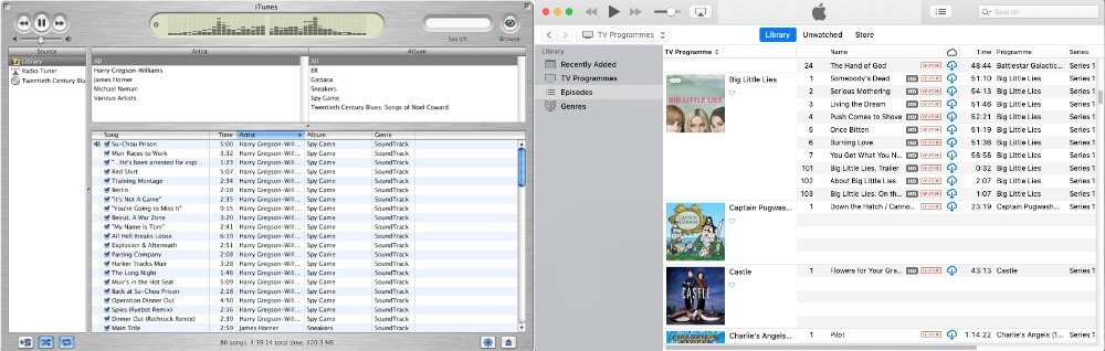 Then and now. Left: iTunes 2. Right: iTunes 12
