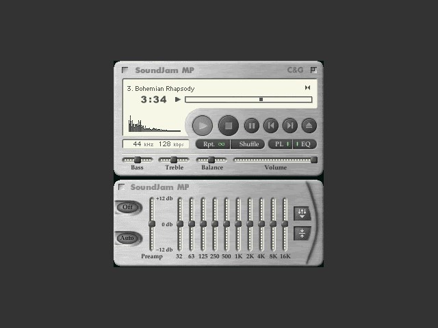 This is what it could've looked like: this is how SoundJam MP appeared before Apple bought it. (Source: Macintosh Repository)