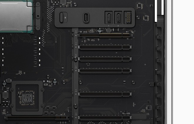 The PCI 3.0 ports included in the modular Mac Pro