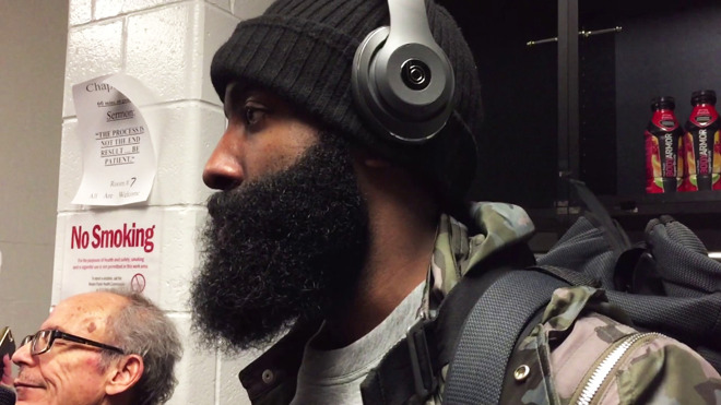 NBA player James Harden, paid to wear the Beats Studio3 Wireless.