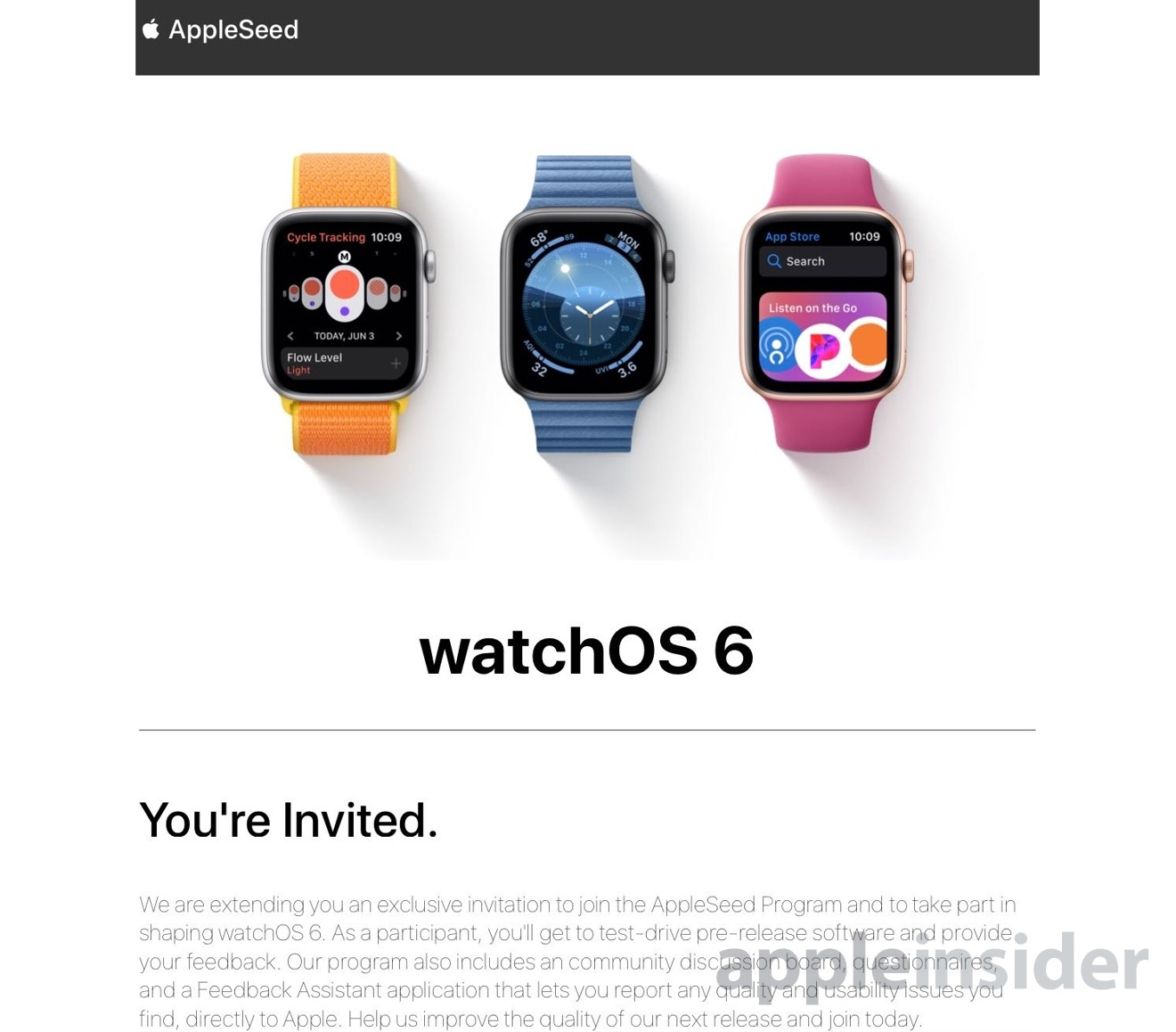 The email invitation sent to potential participants for the AppleSeed program