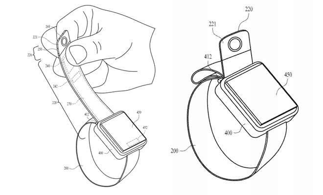Illustration of the end-of-strap camera sensor, button, and how it can be mounted close to the Apple Watch body