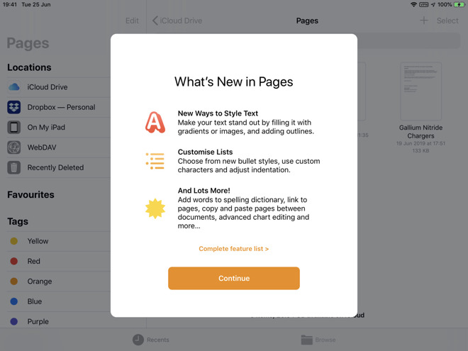 The changes splash screen for Pages on iOS