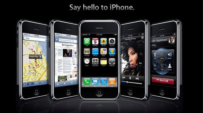 Detail from the Apple website promoting the original iPhone in 2007