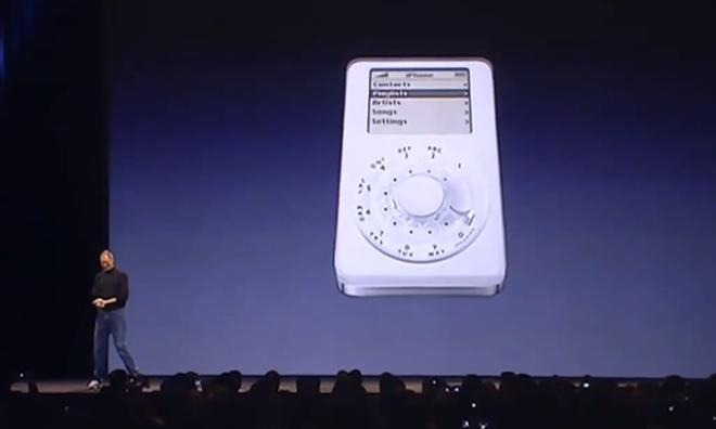 Steve Jobs jokes about an rotary-dial iPhone, not mentioning that Apple actually considered something like it