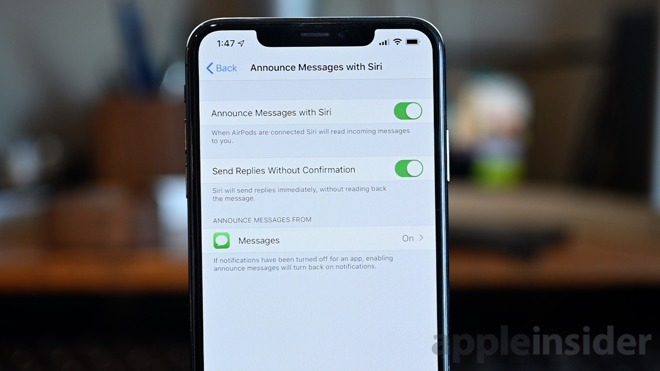 Toggle for announcing messages with Siri