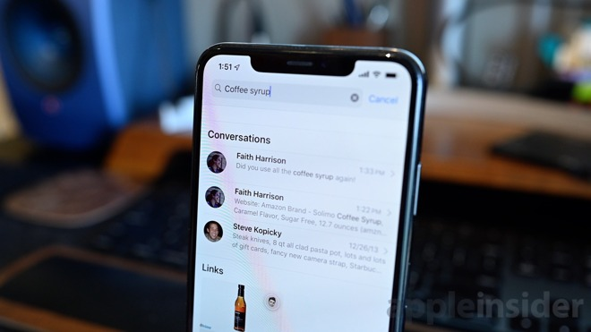 Search works great in iOS 13 Messages
