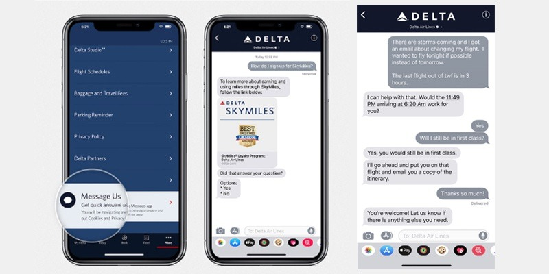 How Delta's Business Chat will work. (Source: Delta)