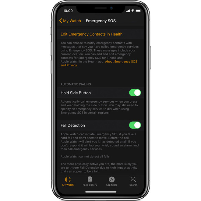 Enable Apple Watch fall detection