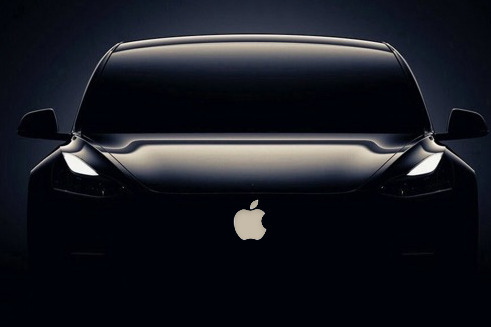 Mockup of an Apple electric car (based on a Tesla)