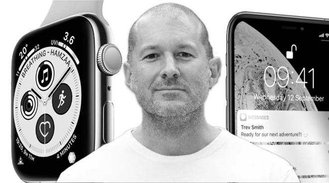 Jony Ive flanked by two of his most famous designs, the Apple Watch (left) and iPhone (right)
