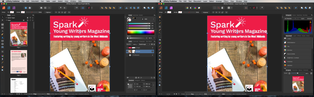 With one click, you can be editing your document in Affinity Publisher, or making precision image adjustments in Affinity Photo