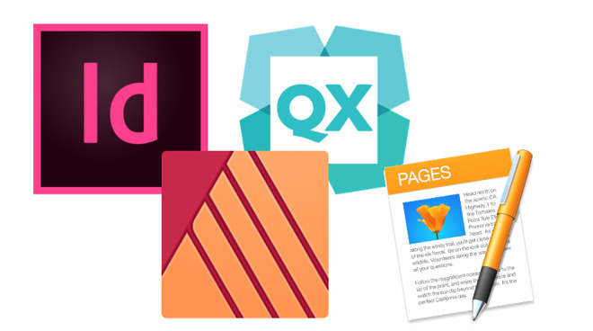 Icons for page design apps. Clockwise from top left: Adobe InDesign, QuarkXPress, Apple Pages and Affinity Publisher