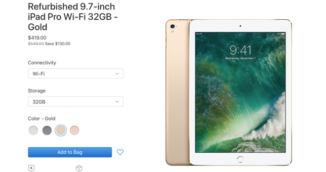 A product listing for the 9.7-inch iPad Pro in Apple's Certified Refurbished store