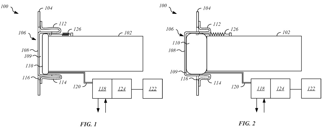 Patent filing illustrations of the recessed bladder and a spring to aid bumper retraction