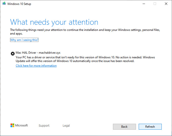 Microsoft's error message when updating using an incompatible Boot Camp driver