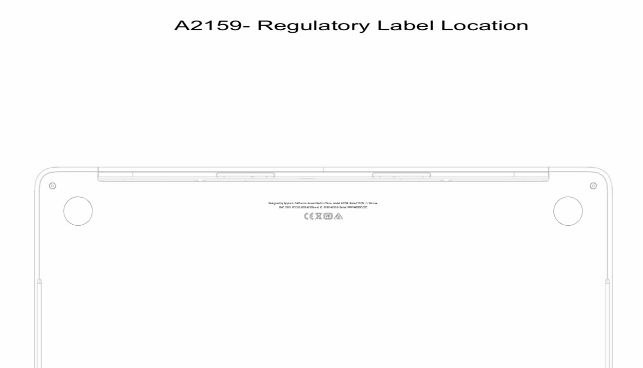 A document showing where the regulatory information on the A2159 MacBook Pro would be located