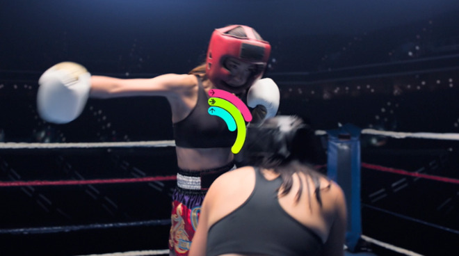 Yoyo S. closes her rings by kickboxing.