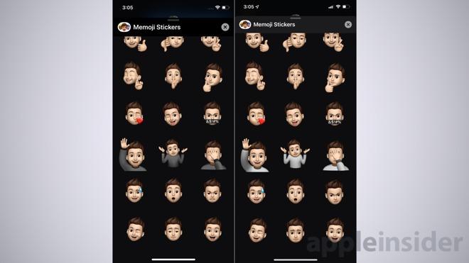iOS 13 Memoji stickers in beta 2 (left) and beta 3 (right)