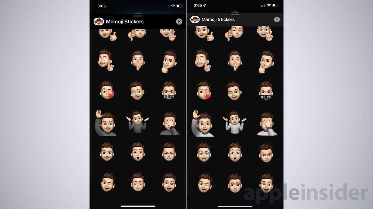 iOS 13 Memoji stickers in beta 2 (left) and beta 3 (right)
