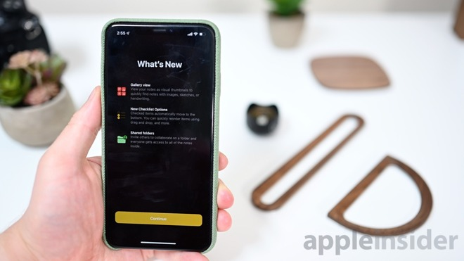 New welcome screen in Notes app in iOS 13 beta 3
