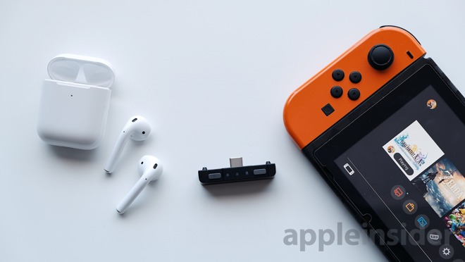 AirPods 2 (left), HomeSpot (middle), Nintendo Switch (right)