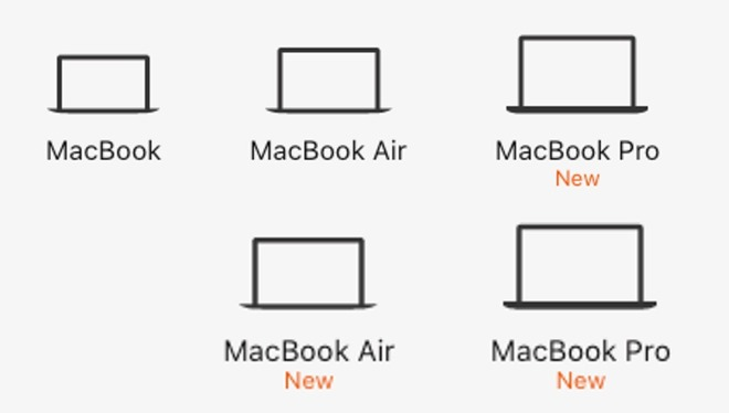 The MacBook lineup from the Apple Website as of July 8 (above) and July 9 (below)