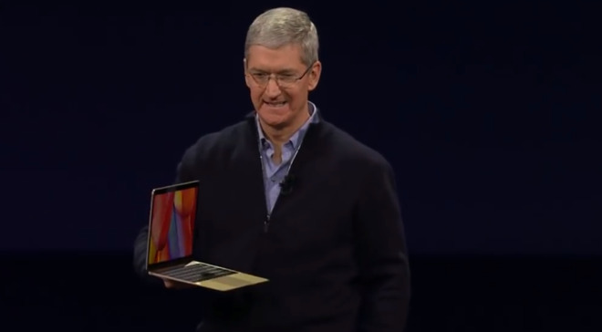 Tim Cook unveils the MacBook in 2015.