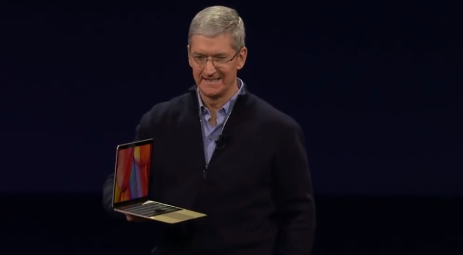 Tim Cook unveils the MacBook in 2015.