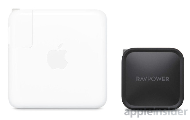 Apple's 61W charger (left) VS RAVpower 61W charger (right)
