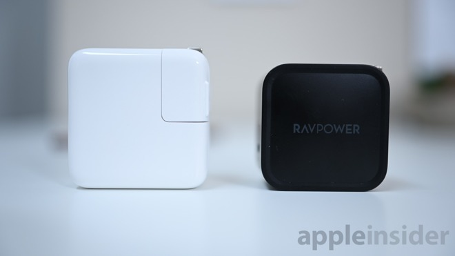 Apple's 30W charger (left) VS RAVpower 61W charger (right)