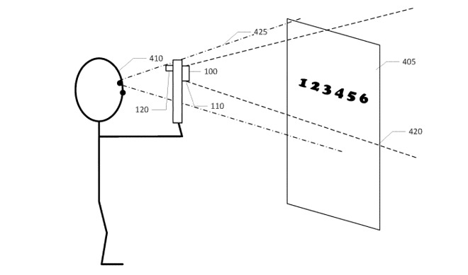 An image from the patent filing of a visually-impaired user viewing a scene via a mobile device