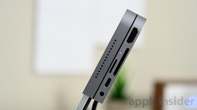 The Kanex iAdapt has a headphone jack, USB-C port, SD and MicroSD card readers, and a 4K HDMI output on the side
