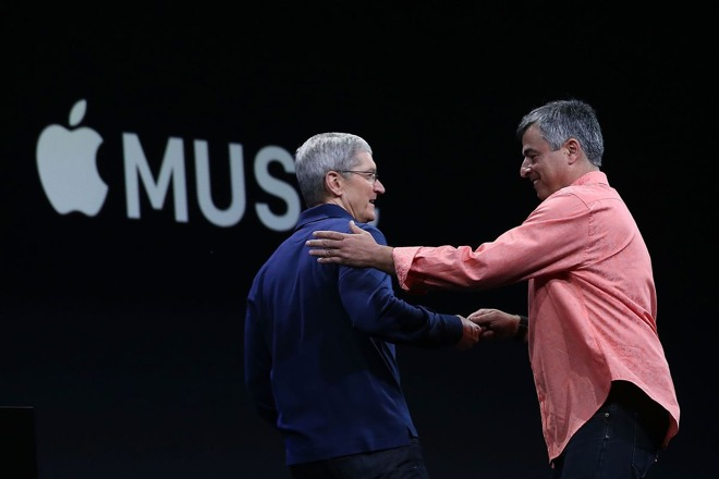 Apple CEO Tim Cook and Eddy Cue unveiling Apple Music
