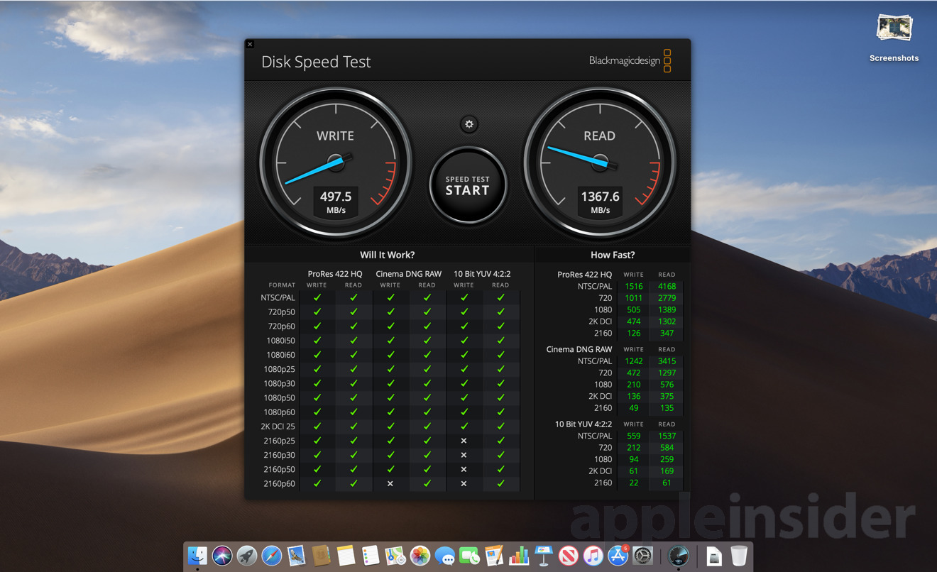 Black Magic Disk Speed Test on base model 2019 13-inch MacBook Pro