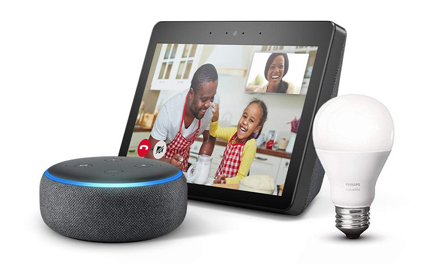 Echo Show and Amazon Echo Dot Charcoal and Philips Hue Bulb