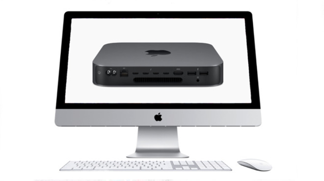 A 27-inch iMac showing a Mac mini on its screen for college