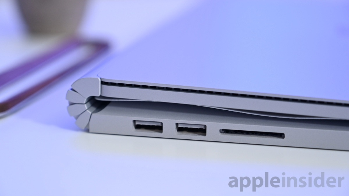 Surface Book 2 USB ports and an SD card reader