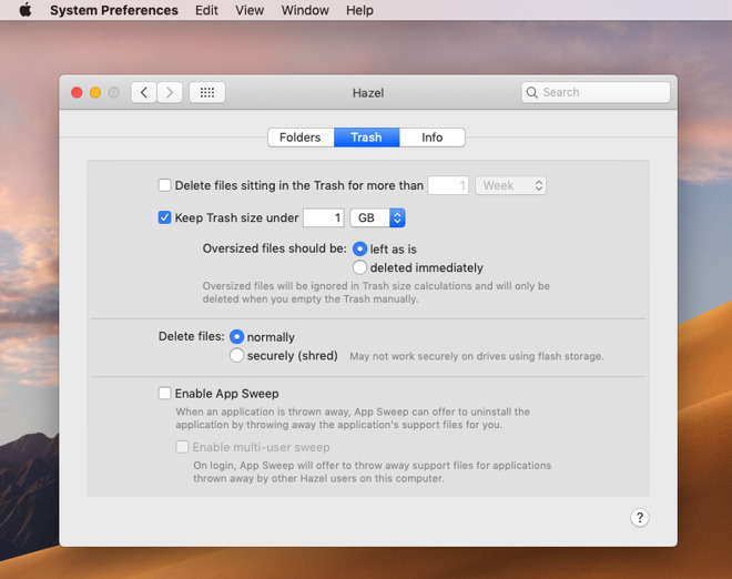 Hazel has much better controls for managing your Mac's trash than macOS does