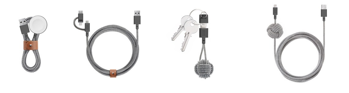 Native Union cables. From left to right: Belt Watch, Belt Cable Universal, Key Cable, & Night Cable